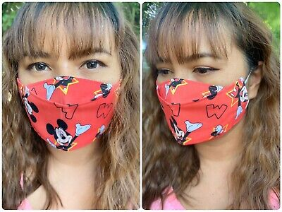 Mickey Mouse Orange Cotton Face Mask With Elastics Pattern For Glasses Wearers