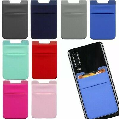 Cell Phone Credit Card Holder Wallet two Pockets Sticker for Key Adhesive Lycra