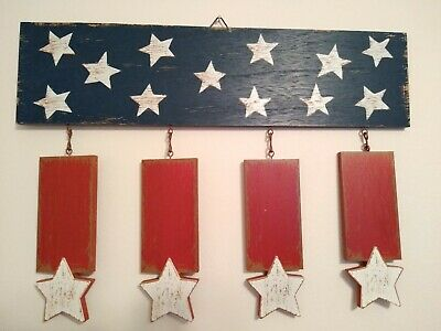 Fourth of July Rustic American Flag Wooden Wall Hanging Decor 18x13 NICE