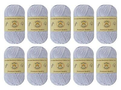 10-pack Set White Gray Worsted Bamboo Cotton Yarn Skein - Premium Quality