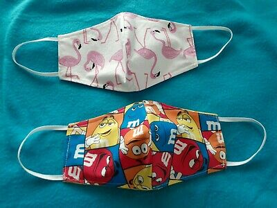 2 Handmade COTTON FACE MASK COVERS - 3 LAYERS - FLAMINGOS - M - Ms