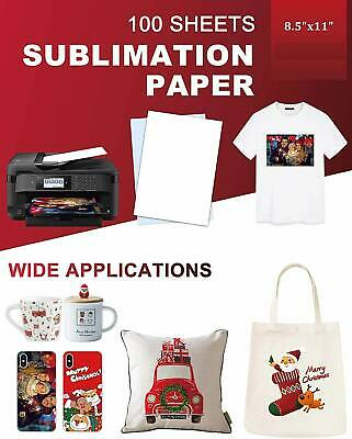 100 sheets Sublimation Paper 8-5x11 for Inkjet Printer Epson Canon Heat Transfer