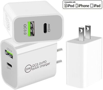 For iPhone 121112 Pro MaxiPad Dual Fast Charger 20W PD Power Adapter Type-C