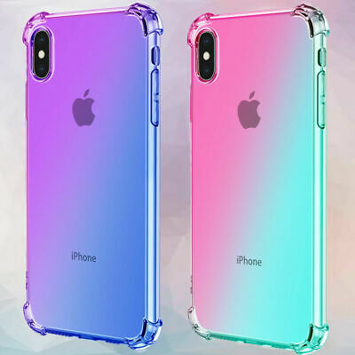 FOR IPHONE 11 PRO X XR XS MAX CLEAR GRADIENT SLIM TPU SHOCKPROOF CASE COVER
