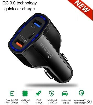 3-Port USB Fast Rapid Car Charger Adapter Type C Port for iPhone Android Samsung