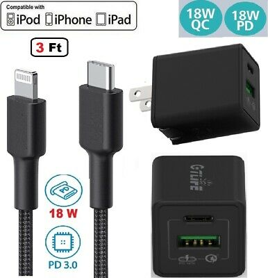 For PD iPhone Charger Cable iPhone 7 8 Plus 12 X XS 11 8Pin USB Charging Cord