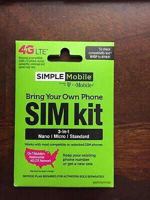 1 - SIMPLE MOBILE 4G LTE 3N1 ALL SIZES SIM CARD - T-MOBILE NETWORK