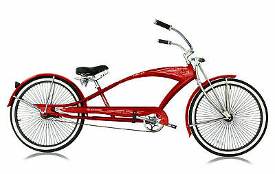RED 26 Stretch Beach Cruiser Bicycle 68 Spokes Rims Coaster Extended Bike PUMA