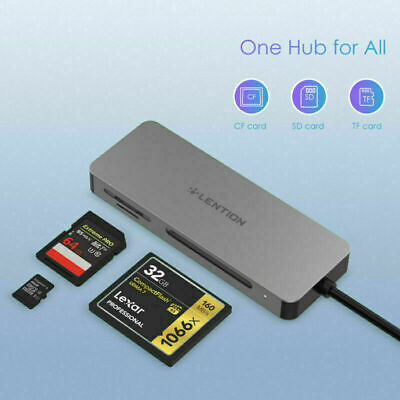 LENTION USB C to SDMicro SD CF Memory Card Reader OTG Adapter for Galaxy S10 S9