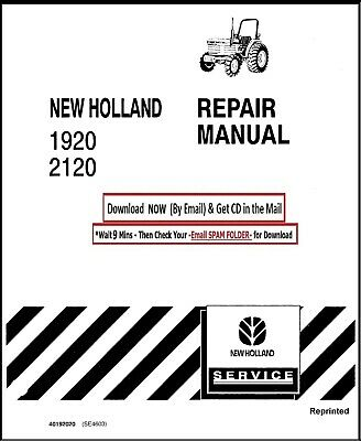 FORD NH 1920 2120 TRACTOR SERVICE REPAIR MANUAL TECHNICAL SHOP BOOK CD