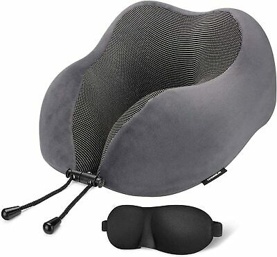 Travel Pillow 100 Pure Memory Foam Neck Pillows for Airplanes with 3D Sleep Eye