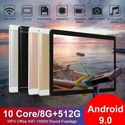 2020 10-1 WiFi Tablet Android 9-0 HD 8G-512G 10 Core PC Google GPS- Dual Camera