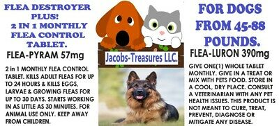 2 In1 Monthly Flea Pill Flea Control 12 Tablets For Dogs From 45-88 LBS 1 YR