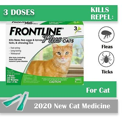 Frontline Plus for Cats and Kittens Flea and Tick Treatment 3 Doses Free shippi