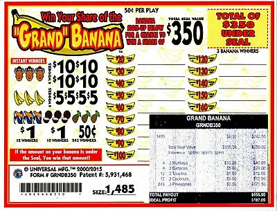 50c 1485ct 5W GRAND BANANA seal card Bingo Pull Tab Tip Board 350