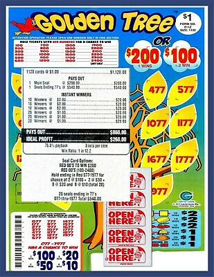 1120ct 5W GOLDEN TREE seal card Bingo Pull Tab Tip Board  200 Last Sale sign