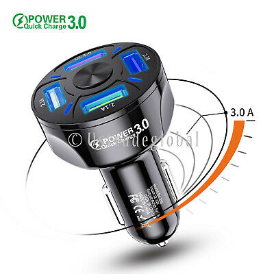 4 Port USB Fast Car Charger Adapter QC3-0 For iPhone Samsung Android Cell Phone