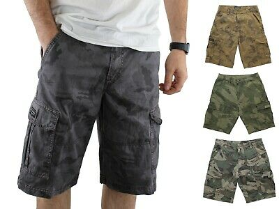 Wrangler Mens Cargo Shorts Pre-Shrunk Distressed Camouflage Multiple Pockets