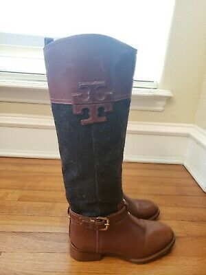 TORY BURCH Simone brown leather stitched logo  riding boots size 5-5