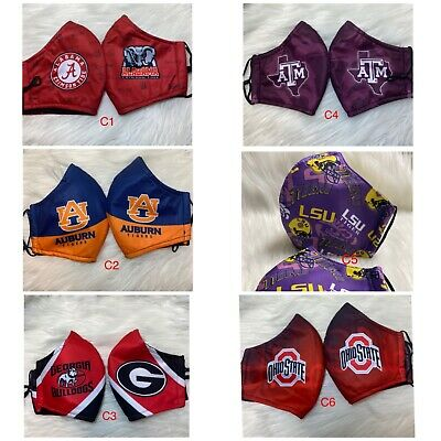 1 College Football team NCCA Face Mask Adult size  New Style Added