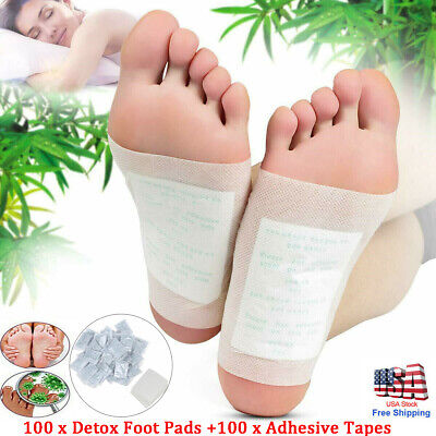 100pcs Foot Detox Pad Cleansing Patch Pain Relief Soothing Herbal Organic Unisex
