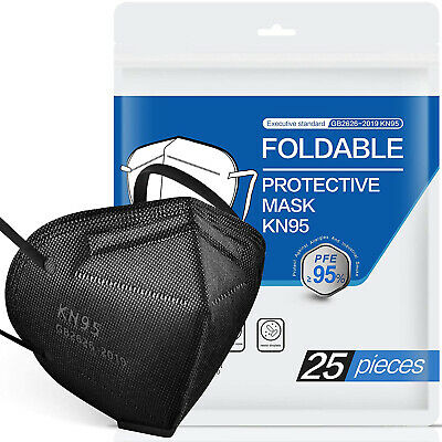 50100 Pcs Black KN95 Protective 5 Layer Face Mask BFE 95 Disposable Respirator