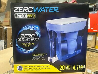 Zero Water Pitcher 5 Stage Advanced Filtration 20 Cup Pour Dispenser 4-7 Liter