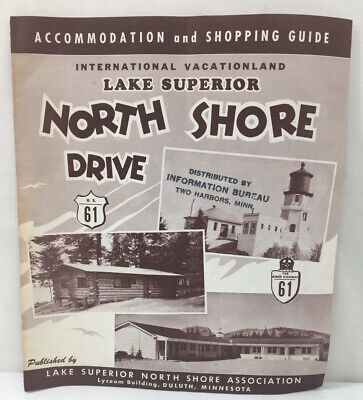 Vintage Lake Superior North Shore Drive Accommodation and Shopping Guide Map