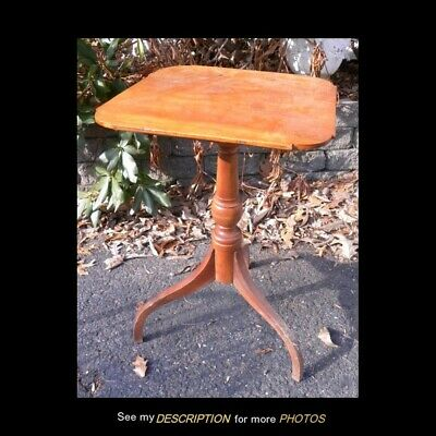 Antique Colonial American Primitive Cherry Spider Leg Candle Stand Cookie corner