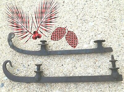 Antique 18-19thc early Curl Toe Ice Iron Skates Hang by Fireside last set