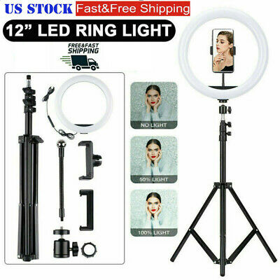 12 inch LED Ring Light With Tripod Stand Dimmable For Phone Live Light Make Up
