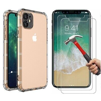 Case - 2 Screen Protector iPhone 12 11 Pro XS Max XR SE 6S 7 8 Plus Cover Clear