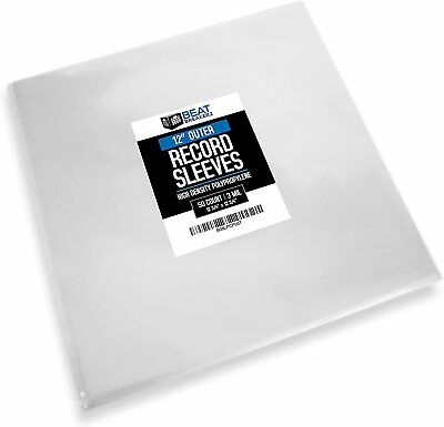 50 12 Vinyl LP Record Outer Sleeves 3 Mil Crystal Clear HDPE High Quality
