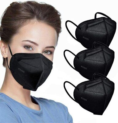 50  100 Black KF94 Disposable Face Mask Non Medical 4 Layer Earloop K N95 Cover