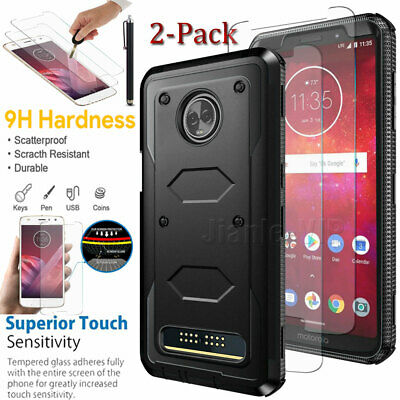 For Motorola Moto Z2 Play Force Shockproof Case Cover - Tempered Glass Protector