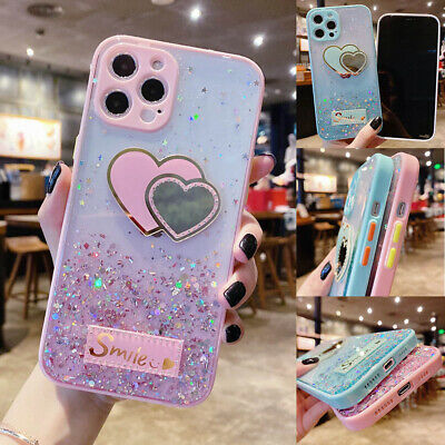 For iPhone 12 Pro Max 11 XR XS 7 8 Bling Glitter Star Love Heart Clear TPU Case