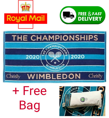 🔥 WIMBLEDON TOWEL BLUE CHRISTIES NEW 2020 IN COTTON BAG 🔥 FAST - FREE 🔥