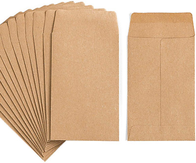100 Pack Kraft Small Coin Envelopes Kraft Seed Office or Wedding Gift Paper NEW