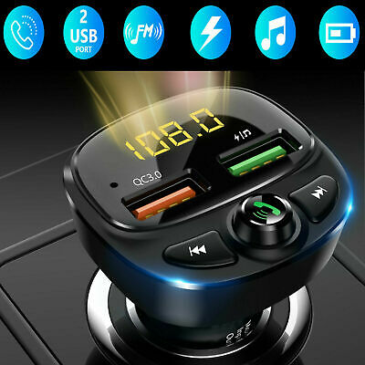 Car MP3 Player Bluetooth FM Transmitter Hands-free Radio AUX In 2 USB Ports US