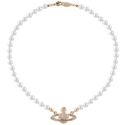 Vivienne Westwood Golden Saturn Pearl Necklace With packing