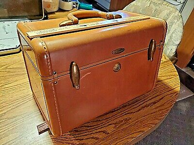 Vintage Samsonite Schwayder Bros Train Cosmetic Luggage Case Mirror Light Brown