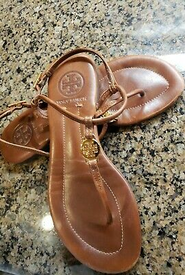 Tory Burch Emmy Tan Leather Thong Sandals Gold Logo Size 5