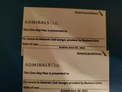 Two American Airlines Admirals Club One Day Passes - Expiration Date Of 6-30-21
