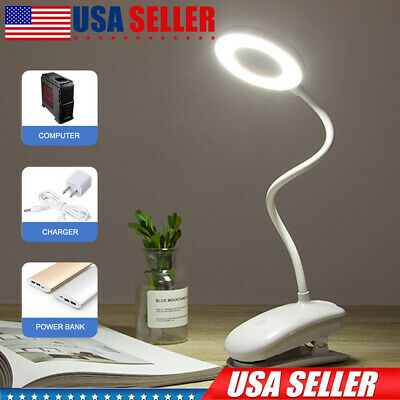 LED Clip Lamp Dimmable Battery Operated Rechargeable Reading Light Cordless
