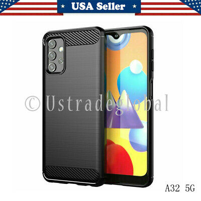 Case For Samsung Galaxy A32 5G Carbon Fibre Shockproof Silicone Soft Phone Cover
