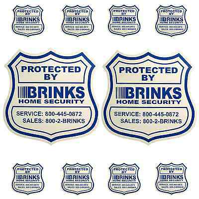 2 HOME SECURITY YARD SIGNS AND 8 SECURITY DECALS STICKERS  BRINKS ADT