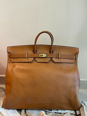Hermes Brown Leather Travel Bag 2MA O with lock and keys
