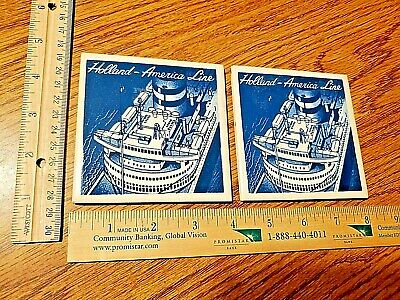 LOT of 2 matching Holland America Cruise Ship Boat Blue Delft Tile Coasters LK