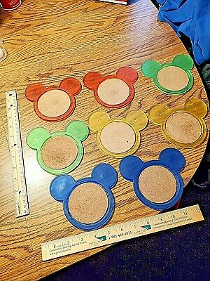 LARGE LOT of 8 Walt Disney Mickey Mouse Coasters colorful Hard to Find SEE PIC