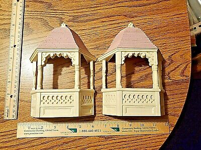 Lot of 2 Burwood Gazebos 2973 Homco Wall Pockets Plaques CLEAN Hard to Find